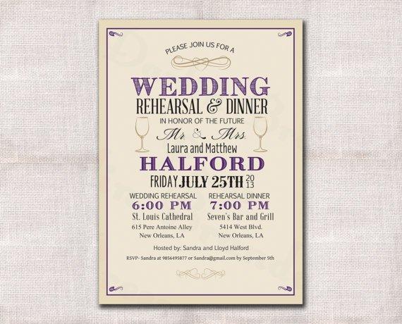 Wedding Rehearsal Dinner Invitations Etsy