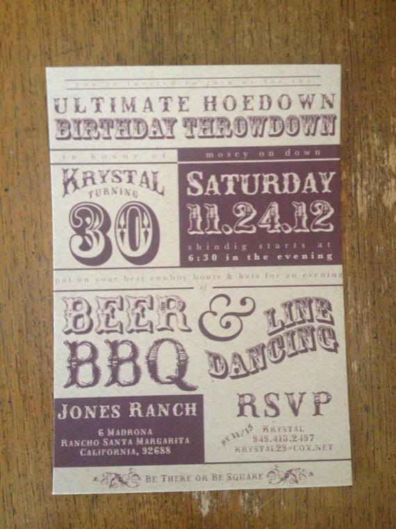 Western Birthday Party Invitation Wording