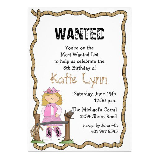 Western Cowgirl Photo Birthday Party Invitations