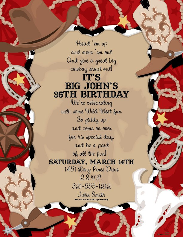 Western Party Printable Blank Invitations
