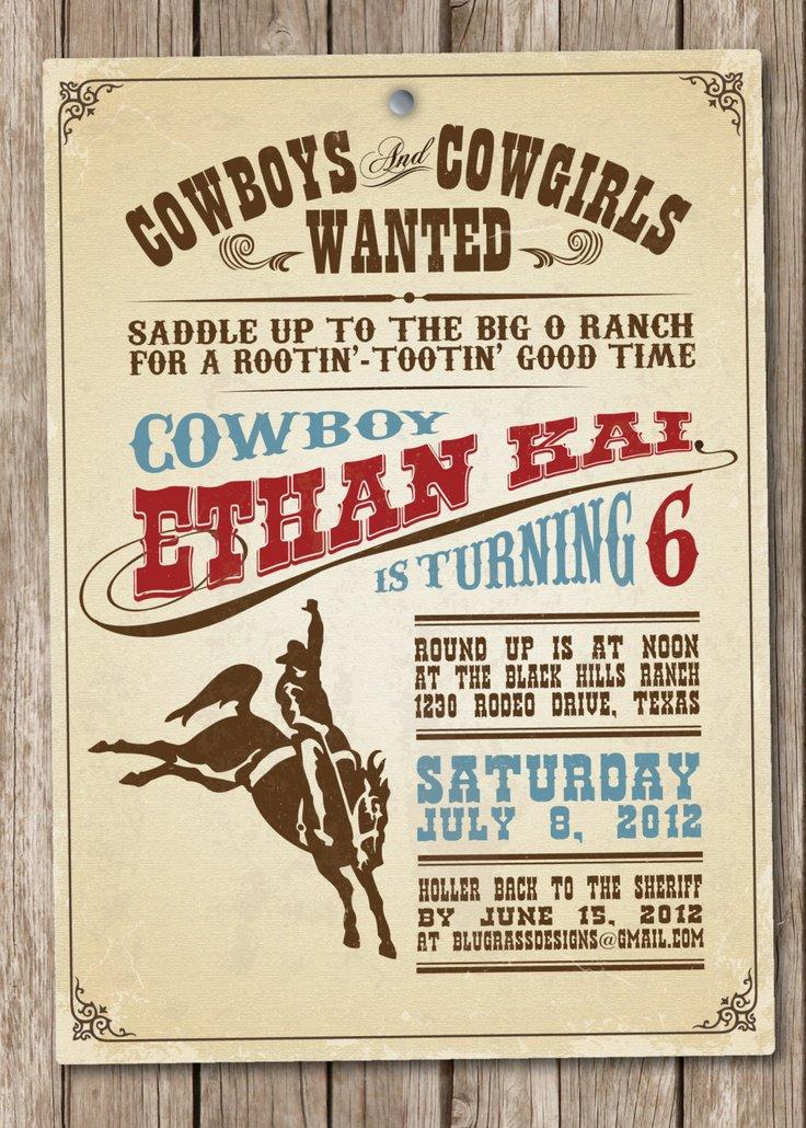 Western Birthday Invitation Wording – Wild West Birthday Invitations