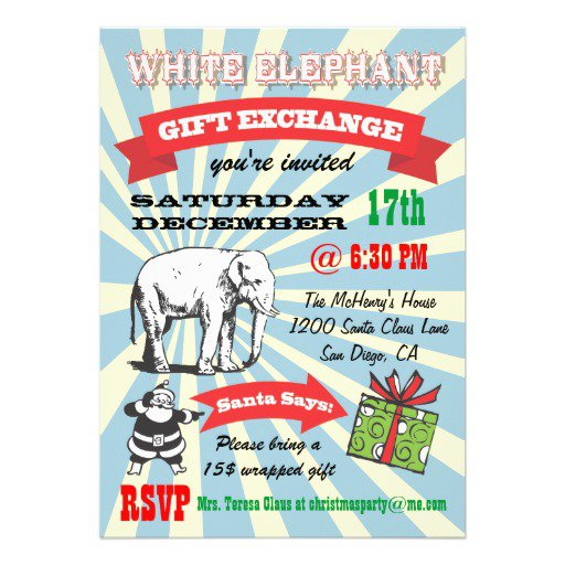 White Elephant Party Invitations Templates - White elephant christmas party invitations templates