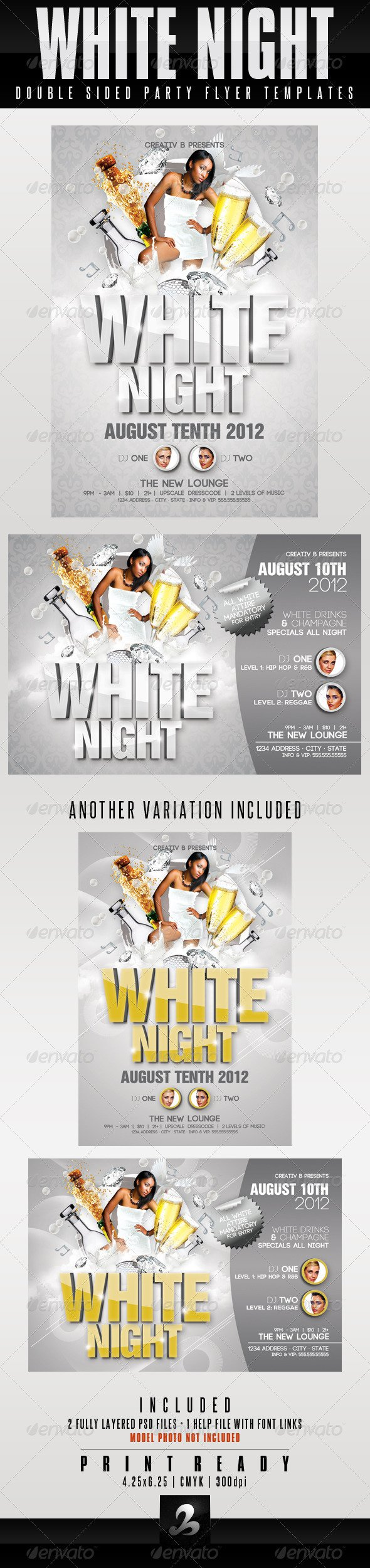 White Party Invitations Templates