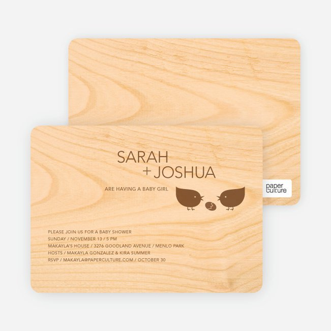Wood Baby Shower Invitations