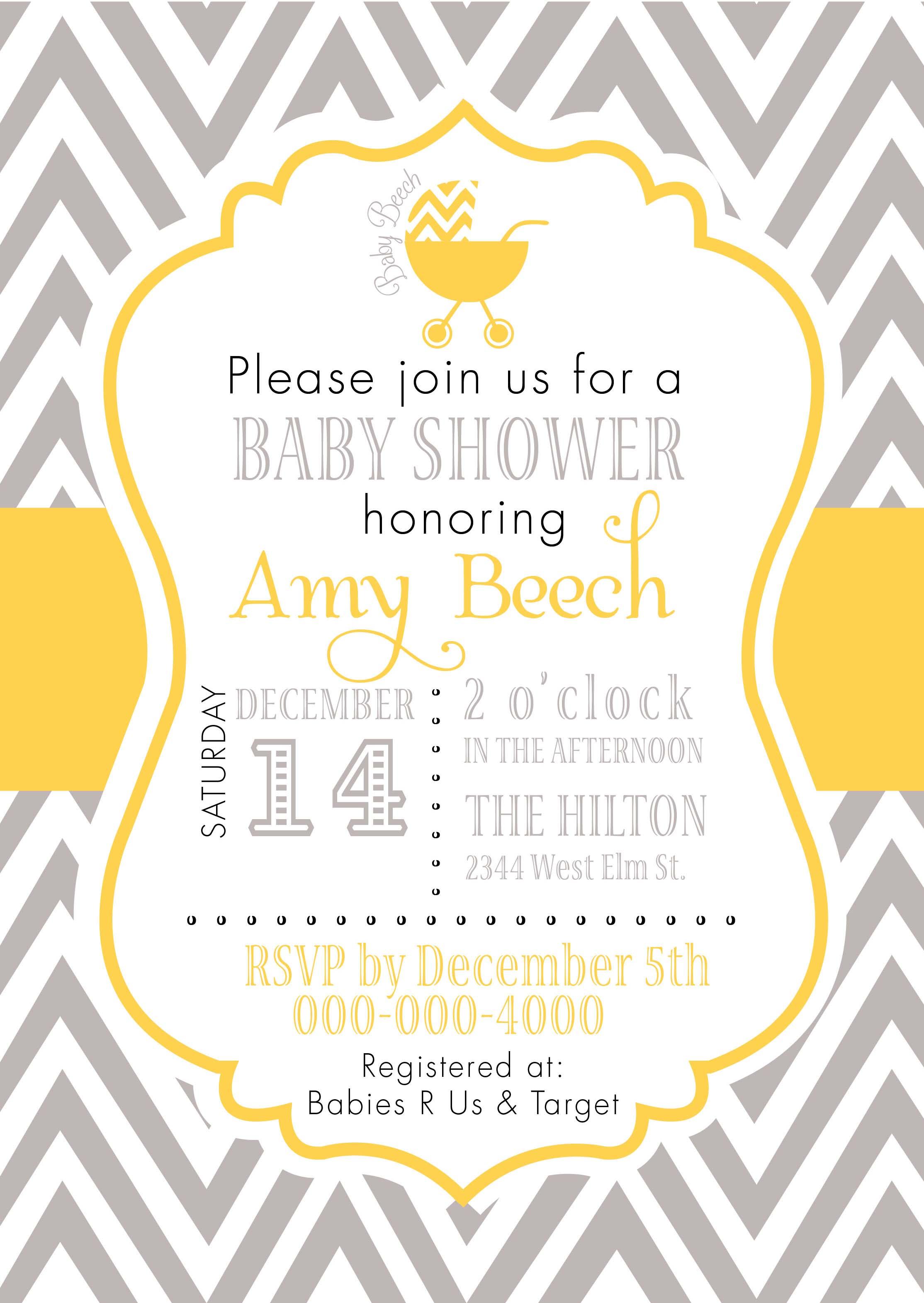 Yellow Chevron Birthday Invitations