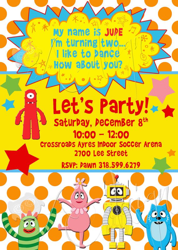 yo gabba gabba birthday invitation templates, Birthday invitations