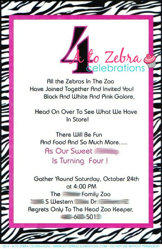 Zebra Birthday Party Invitation Wording