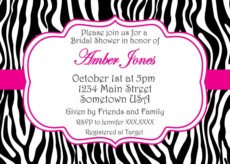 Zebra Print Birthday Invitations