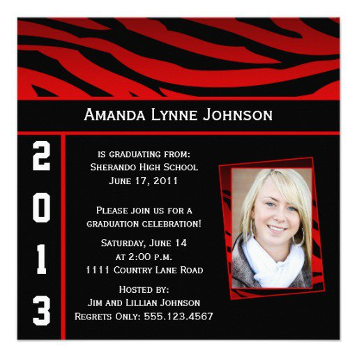 Zebra Print Graduation Invitations