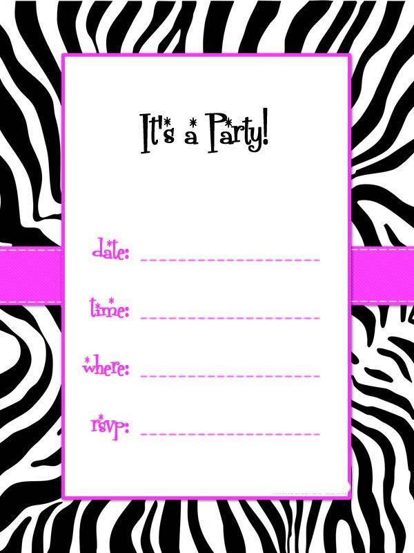 Zebra Printable Party Invitations