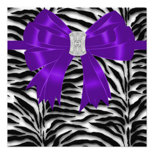 Zebra Purple Invitations