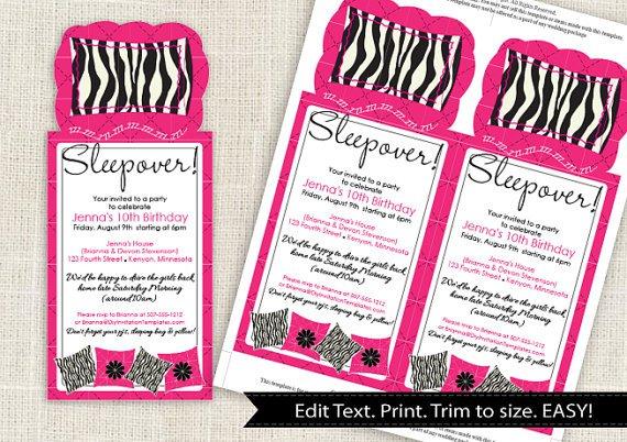 Zebra Sleepover Invitations
