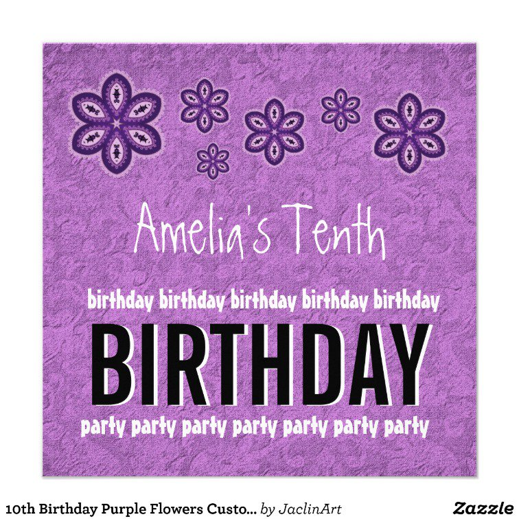 10 Year Old Girl Birthday Party Invitations