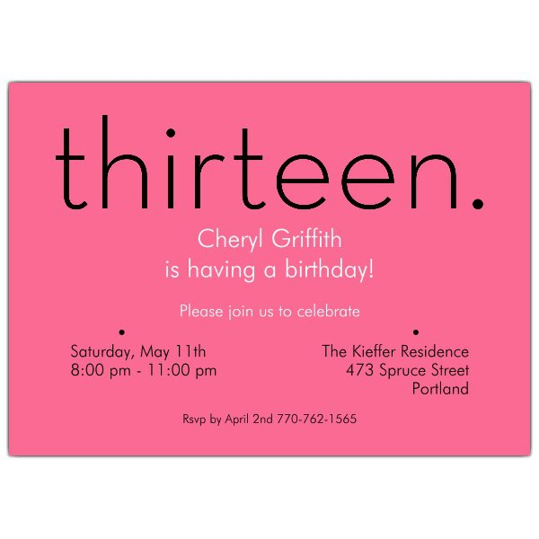 13th Birthday Invitation Wording