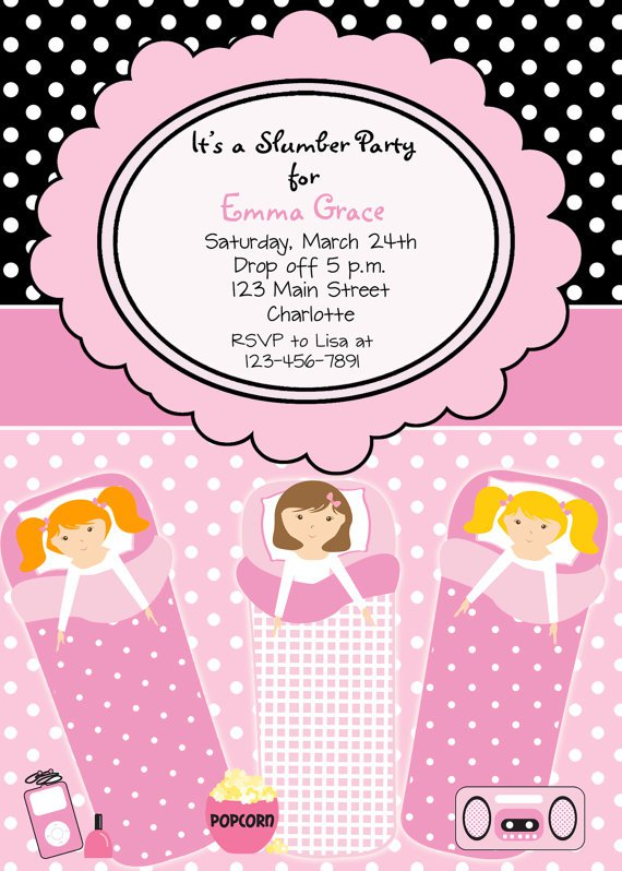 13th Birthday Sleepover Invitations