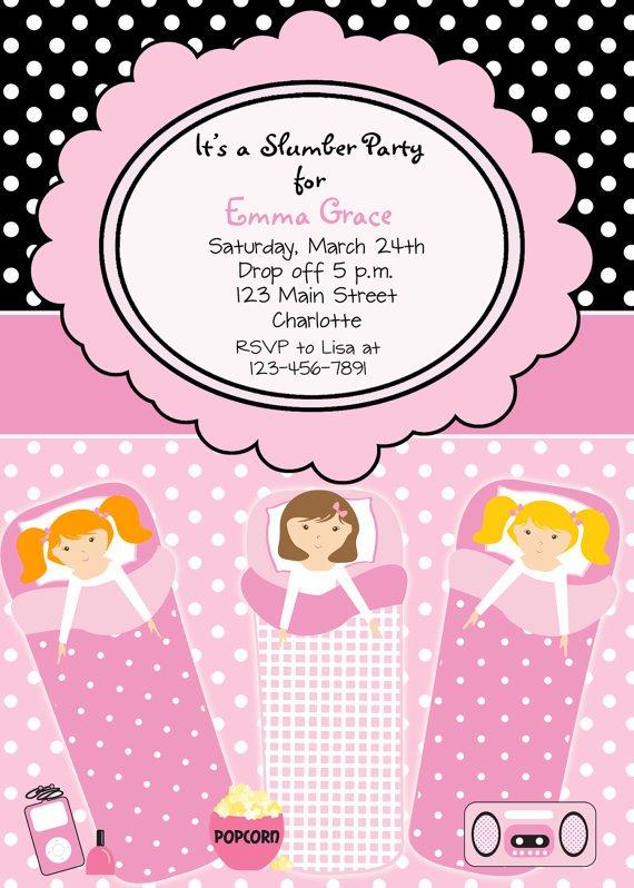 13th Birthday Sleepover Invitations