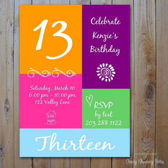 13th Girl Birthday Invitation Templates