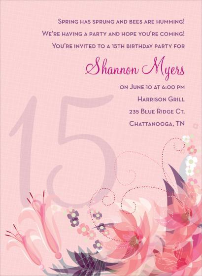 15th Birthday Invitation Wording