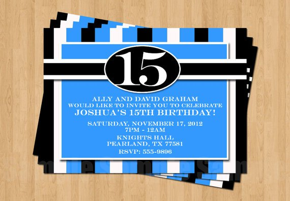 15th Birthday Invitations For Boys