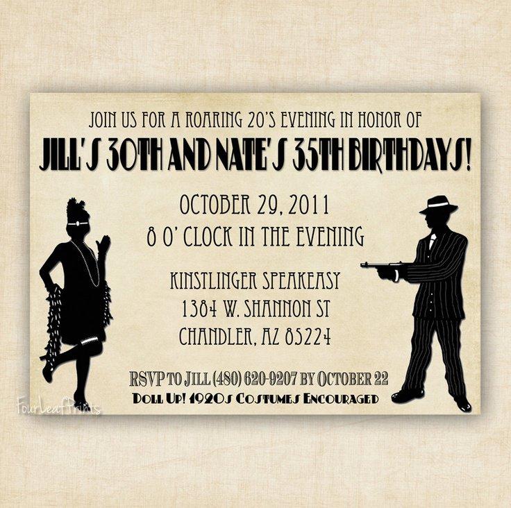 1920s Birthday Invitations
