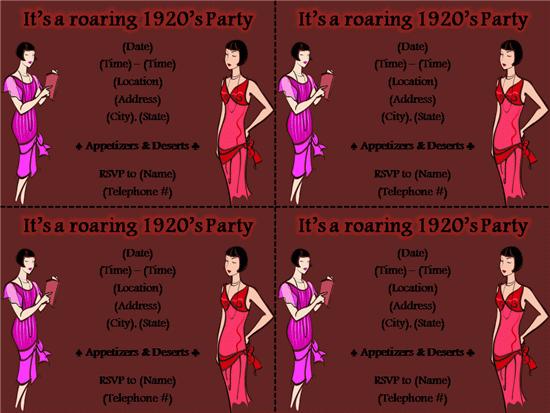 1920s Party Invitation Templates