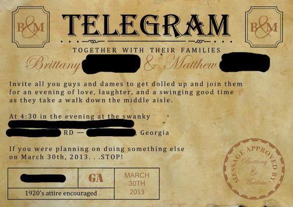 1920s Wedding Invitation Wording