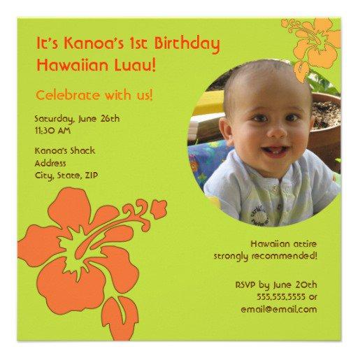 1st Birthday Hawaiian Invitations