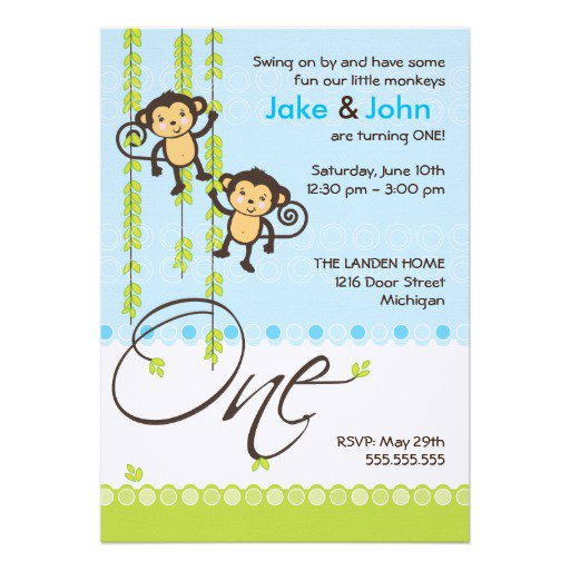 1st Birthday Invitation Card For Twins