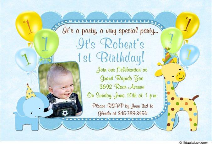 1st Birthday Invitation Inserts