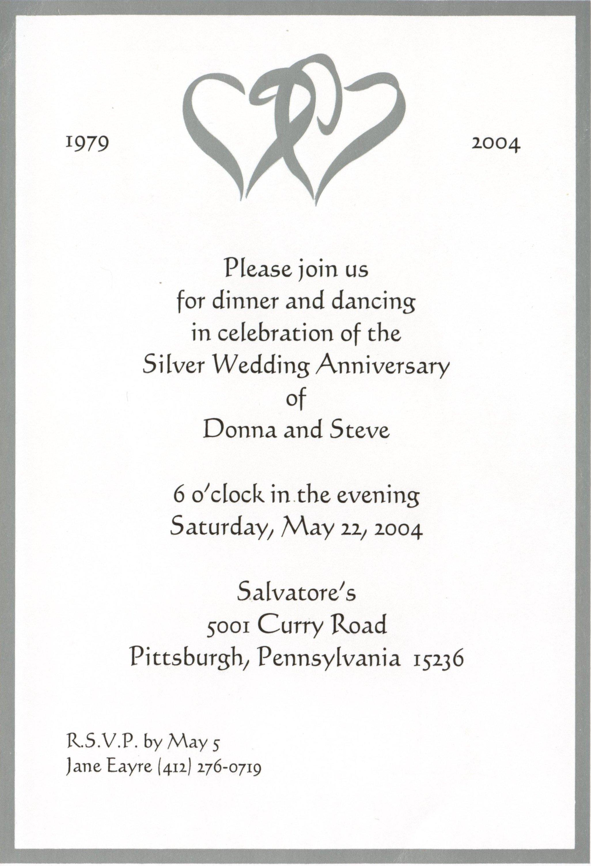 25th Anniversary Invitation Format
