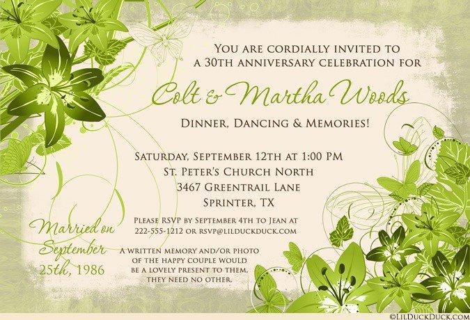30 Year Wedding Anniversary Invitation Wording