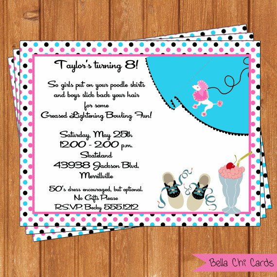 39;s Sock Hop Birthday Invitations