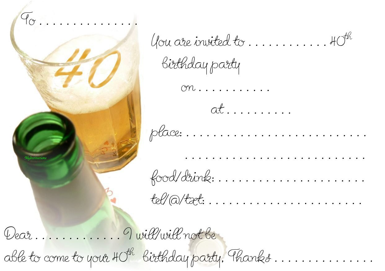 Fortieth Birthday Party Invitations