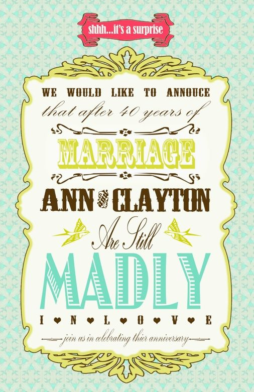 40th Wedding Anniversary Surprise Party Invitations