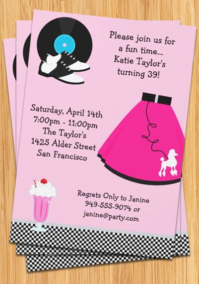50s Sock Hop Invitations