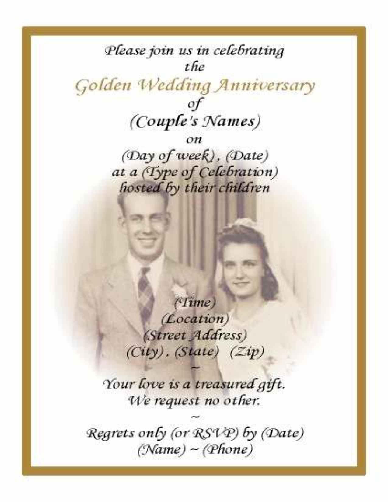 50th Anniversary Invitations Printable