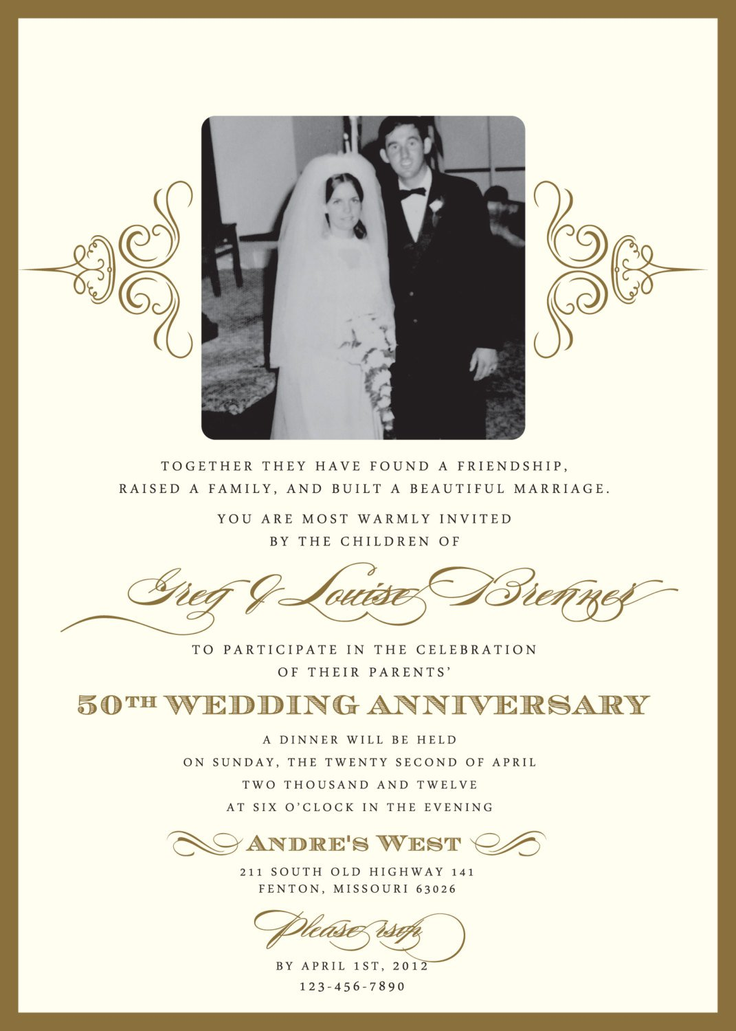 50th Anniversary Party Invitations Wording
