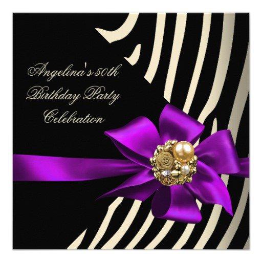 50th Birthday Zebra Purple Invitations