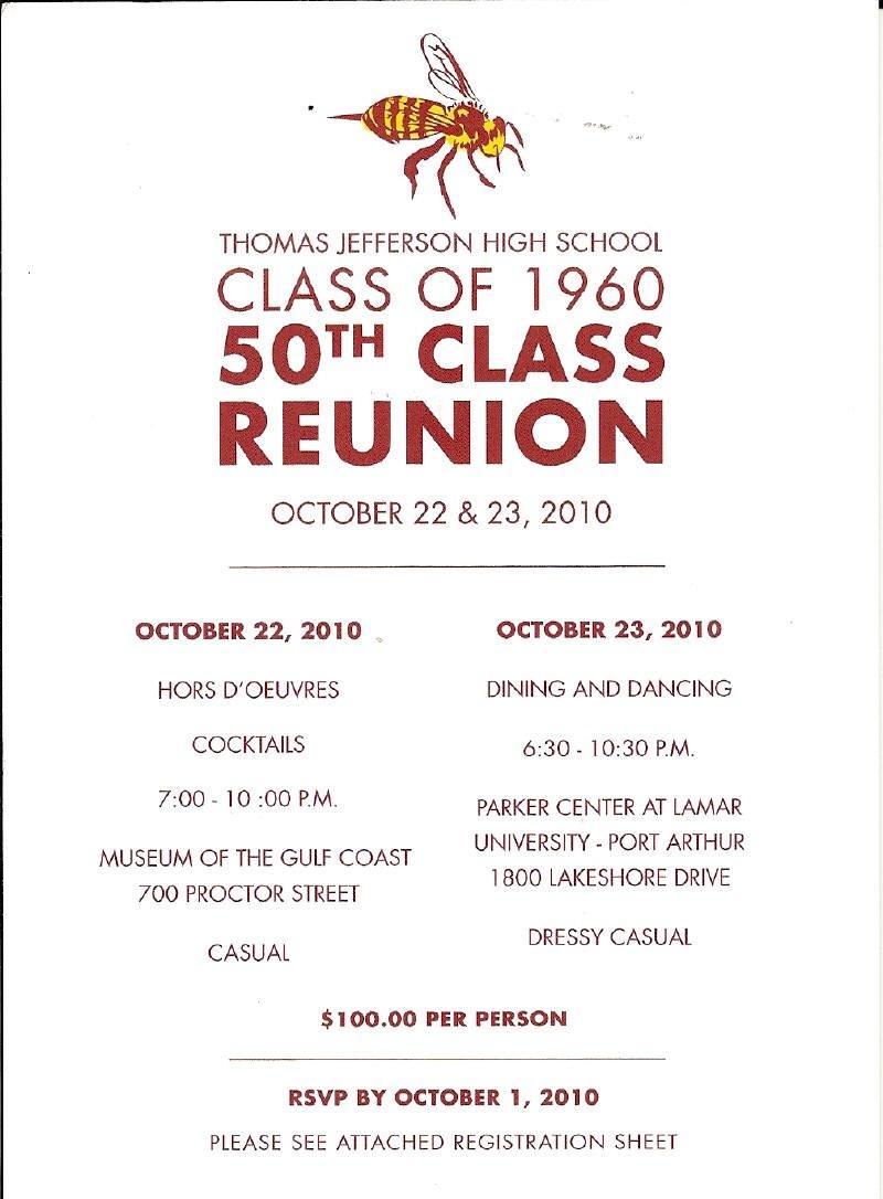 50th Class Reunion Invitations