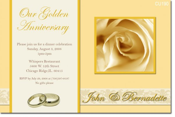 50th Wedding Invitation Templates: 50th Golden Anniversary Invitations