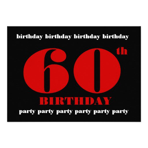 60th Birthday Invitation Cards Templates