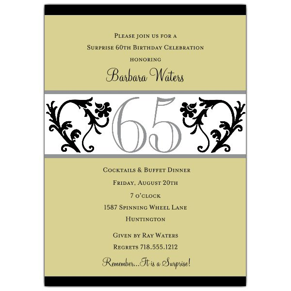 65th Birthday Invitations Printable