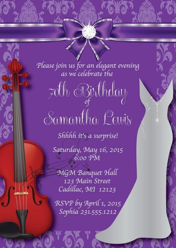 70th Invitations Purple And Silver
