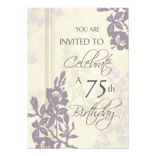 75th Birthday Invitation Cards