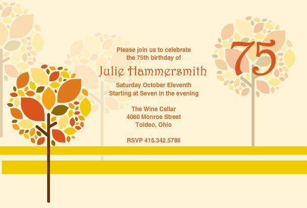 75th Birthday Party Invitations Templates