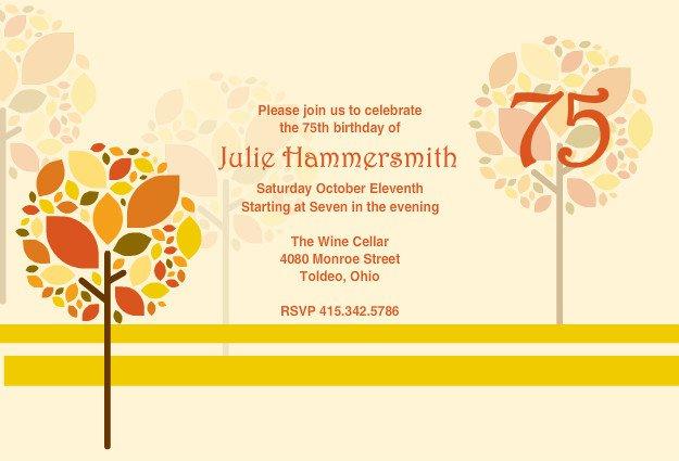 75th Birthday Invitations Templates – 75th Birthday Party Invitations