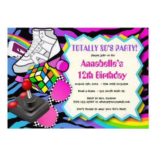 80s Birthday Party Invitations Templates – 80s Party Invite Template
