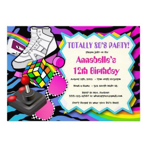 80s Birthday Party Invitation Template