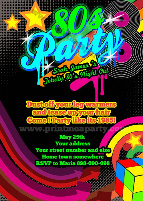 80s Birthday Party Invitations Templates