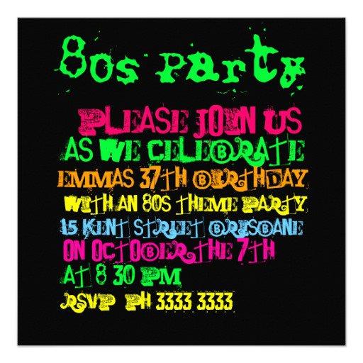 80s Invitation Party